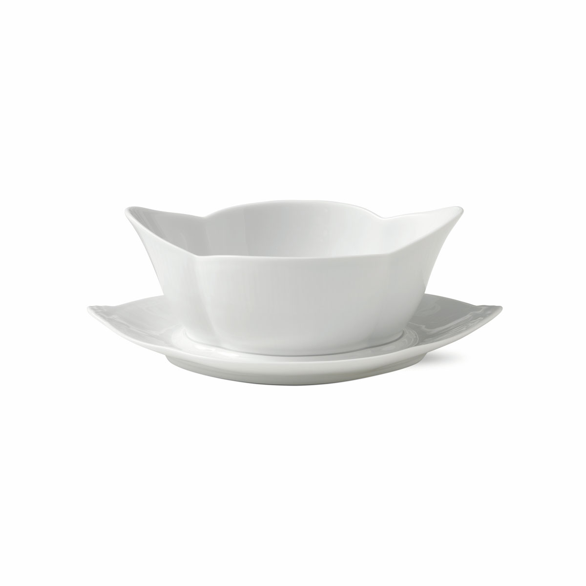 Royal Copenhagen, White Fluted Gravy Boat With Stand 18.5oz.