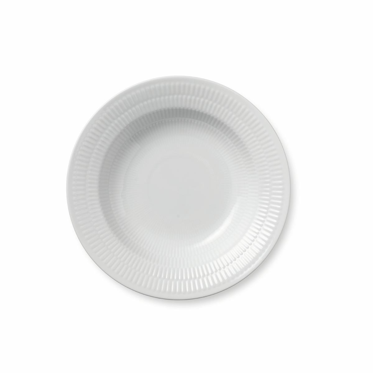 "Royal Copenhagen, White Fluted Rim Soup Bowl 8.25"""
