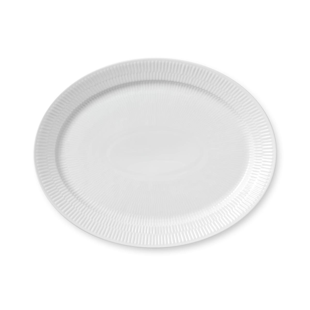 """Royal Copenhagen, White Fluted Oval Platter 13.5"""""""