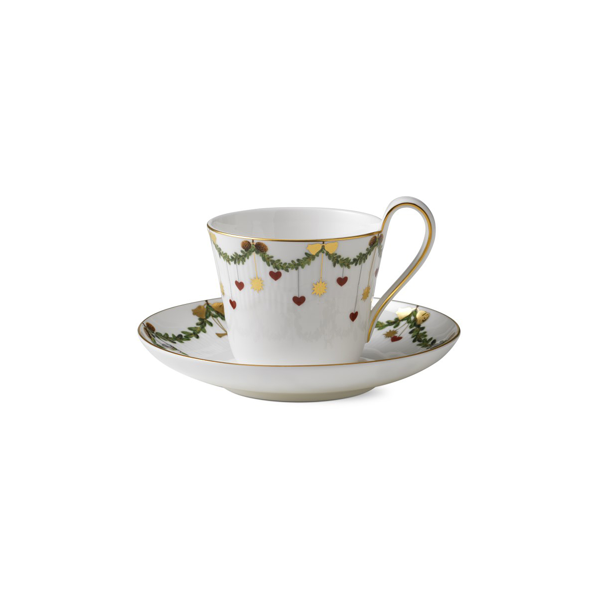 Royal Copenhagen, Star Fluted Christmas High Handle Cup and Saucer 8.5oz.