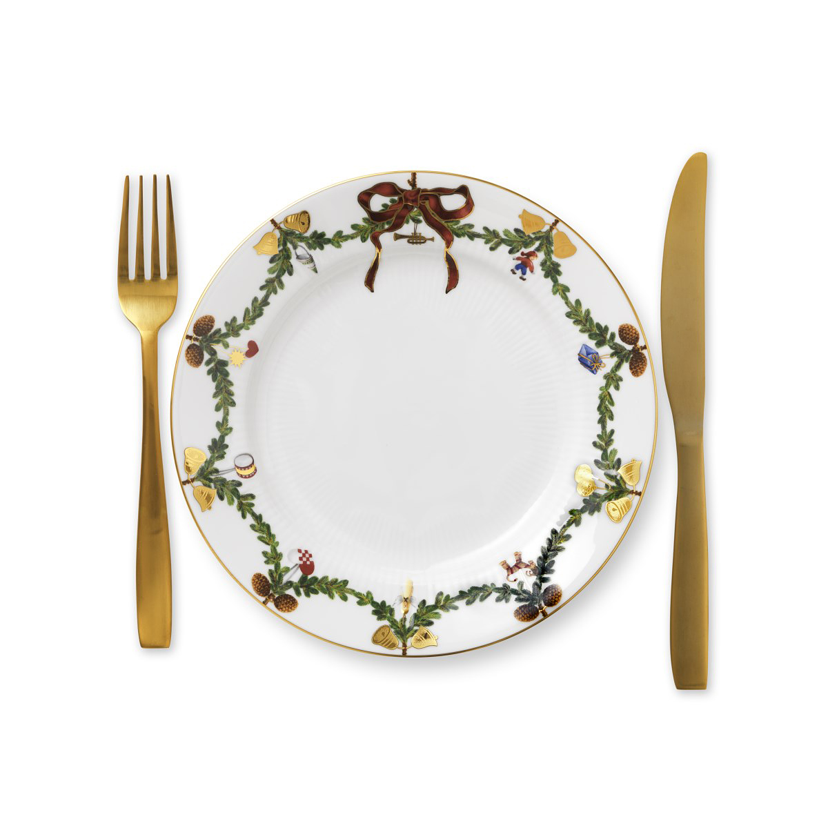 Royal Copenhagen, Star Fluted Christmas Salad Plate, Single