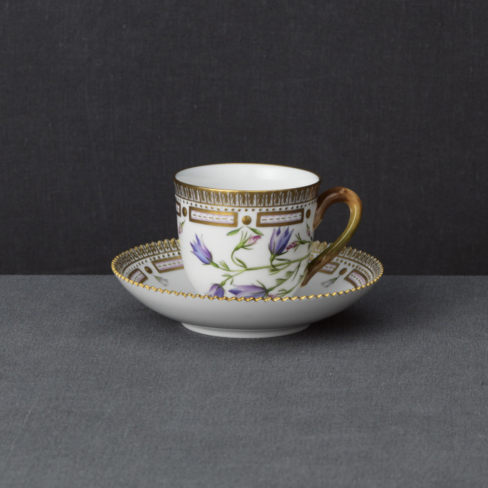 Royal Copenhagen, Flora Danica Coffee Cup and Saucer 6oz., Limited Edition