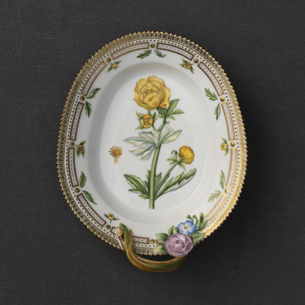 """Royal Copenhagen, Flora Danica Accent Dish With Handle 8.75"""", Limited Edition"""