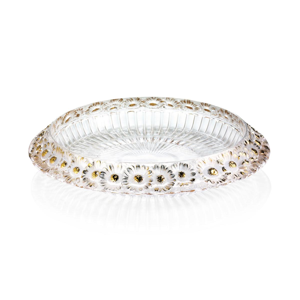 """Lalique Marguerites 14"""" Bowl, Gold"""