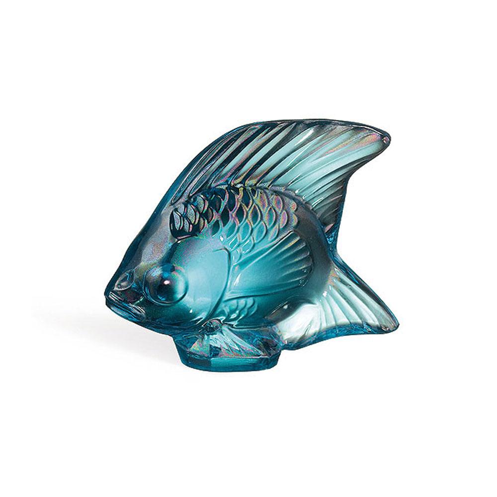 Lalique Crystal, Turquoise Lustre Fish Sculpture