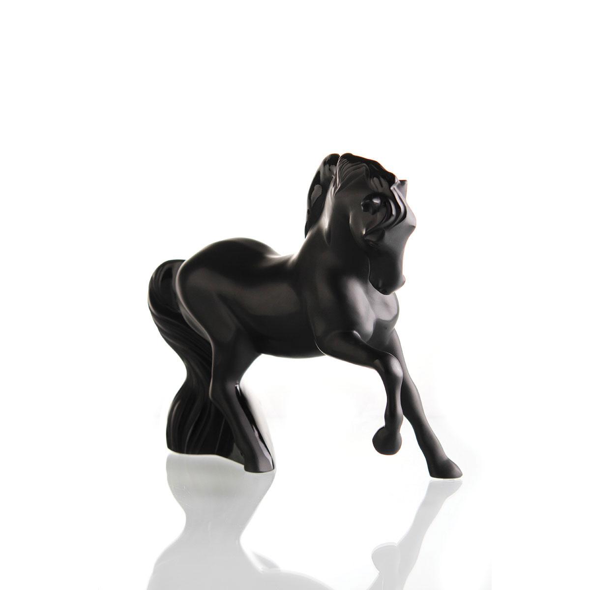 Lalique Mistral Horse Figure, Black