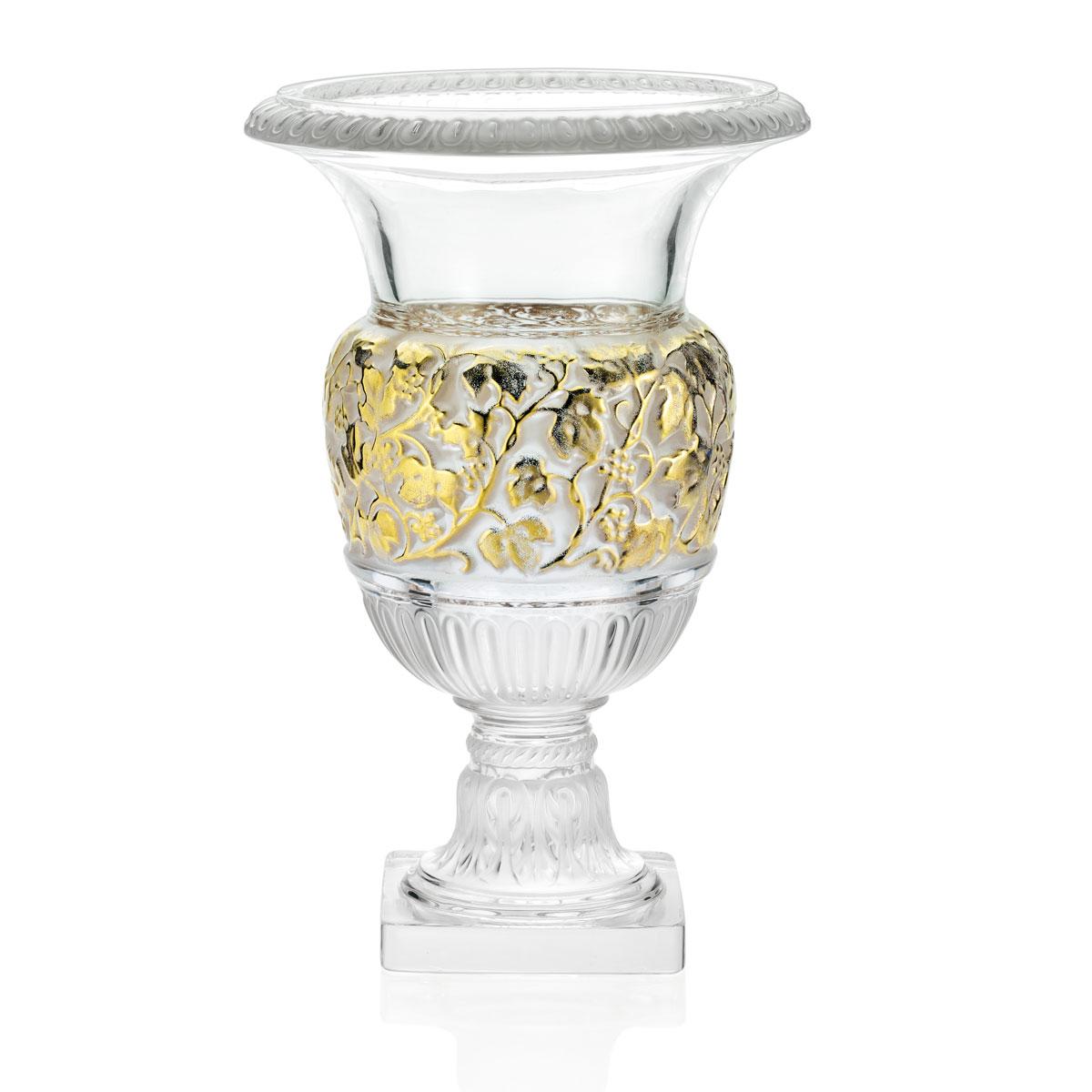 Lalique Crystal, Versailles Crystal Vase, Gold, 13 1/2in