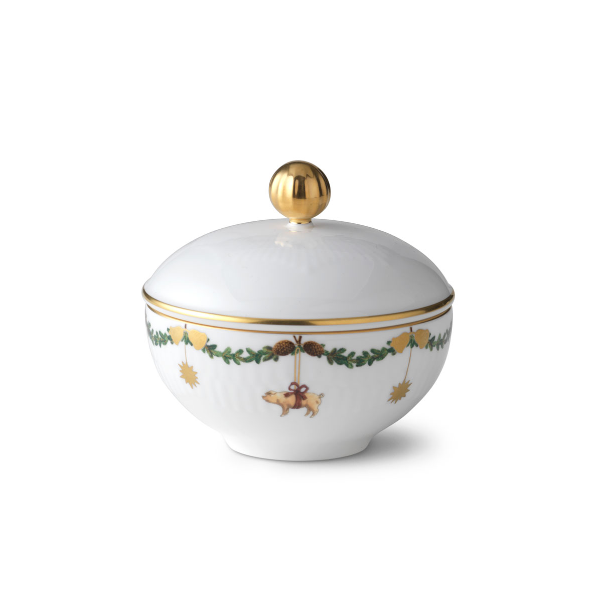 "Royal Copenhagen, Star Fluted Christmas Sugar Bowl With Lid 3.5"""