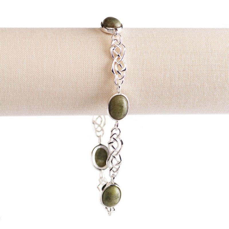 Cashs Ireland, Sterling Silver and Connemara Marble Celtic Knot Soft Bracelet