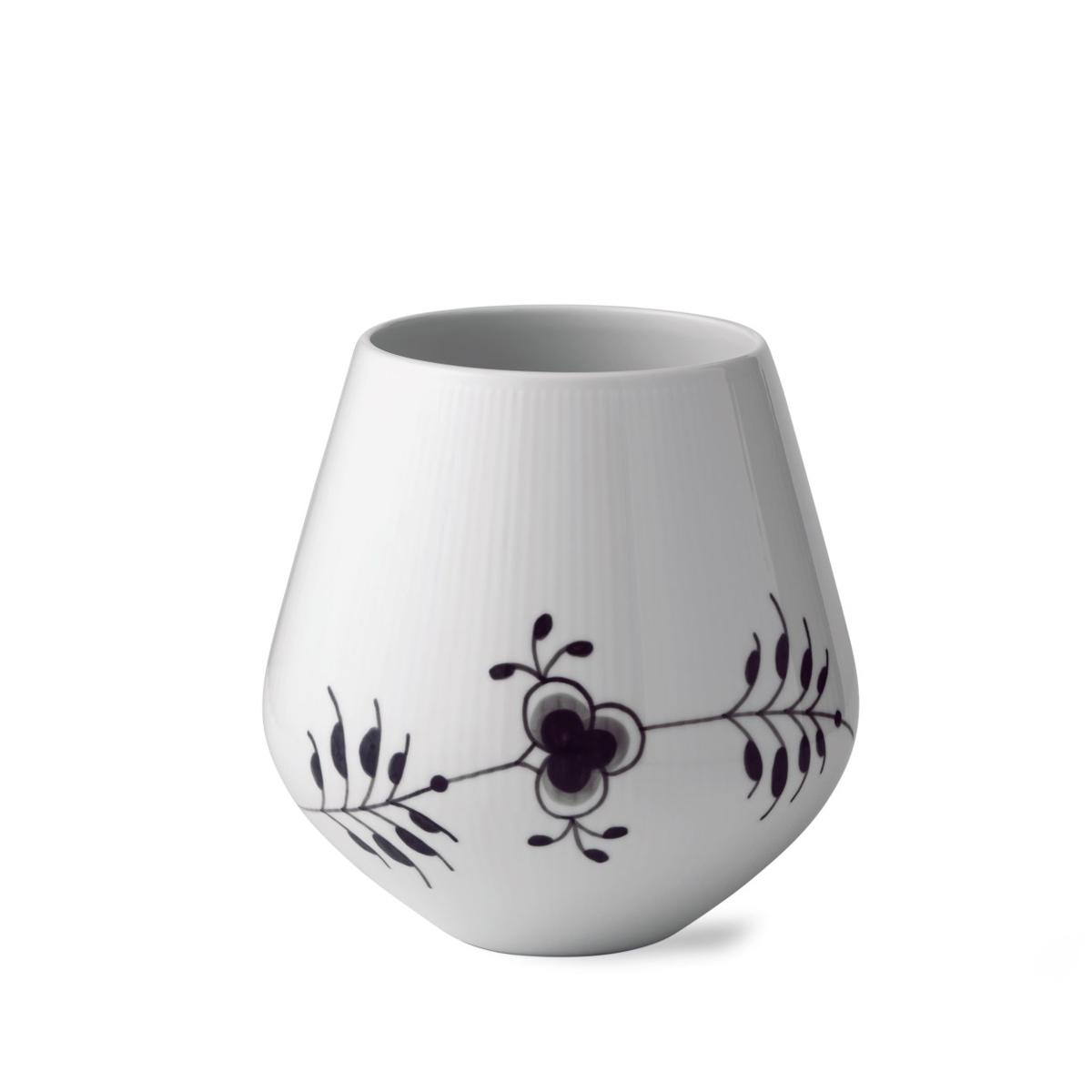 "Royal Copenhagen, Black Fluted Mega Vase 8"""
