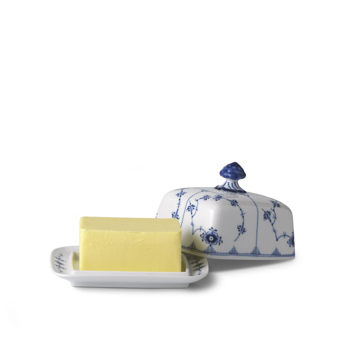 Royal Copenhagen, Blue Fluted Plain Butter Dish 14oz.