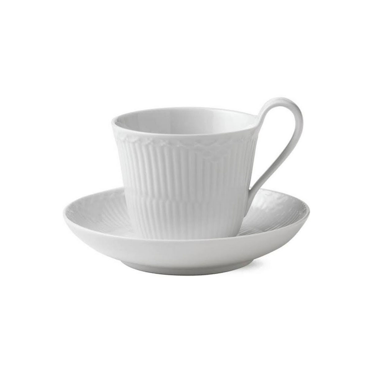 Royal Copenhagen, White Half Lace High Handled Mug