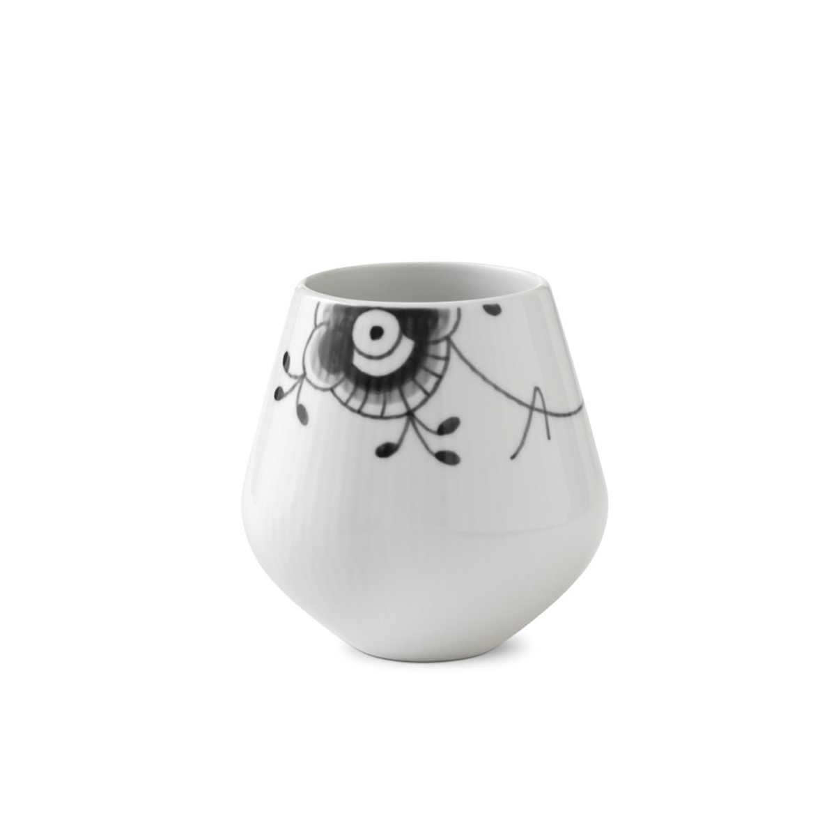 "Royal Copenhagen, Black Fluted Mega Vase 4.75"""