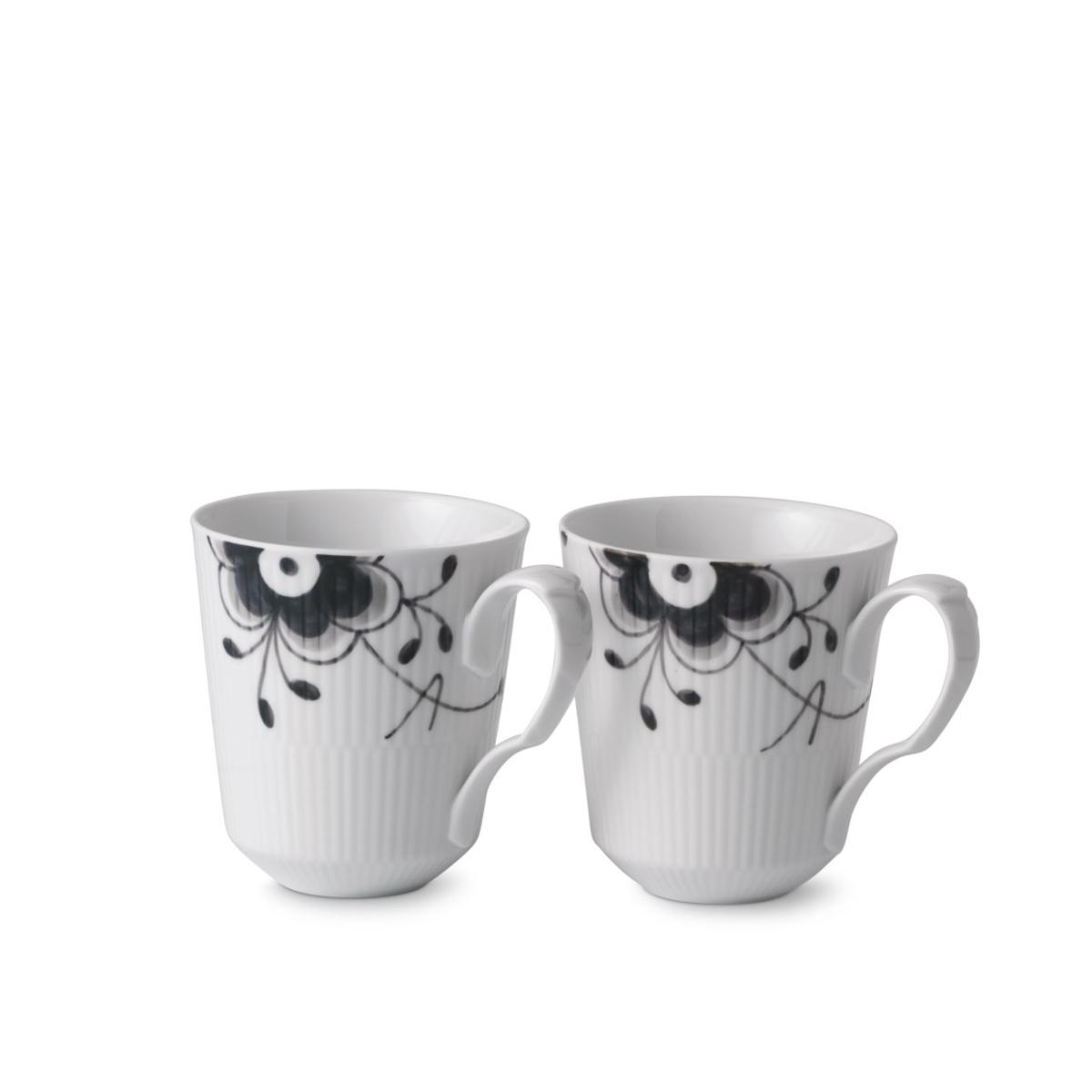 Royal Copenhagen, Black Fluted Mug Pair 12.25oz.
