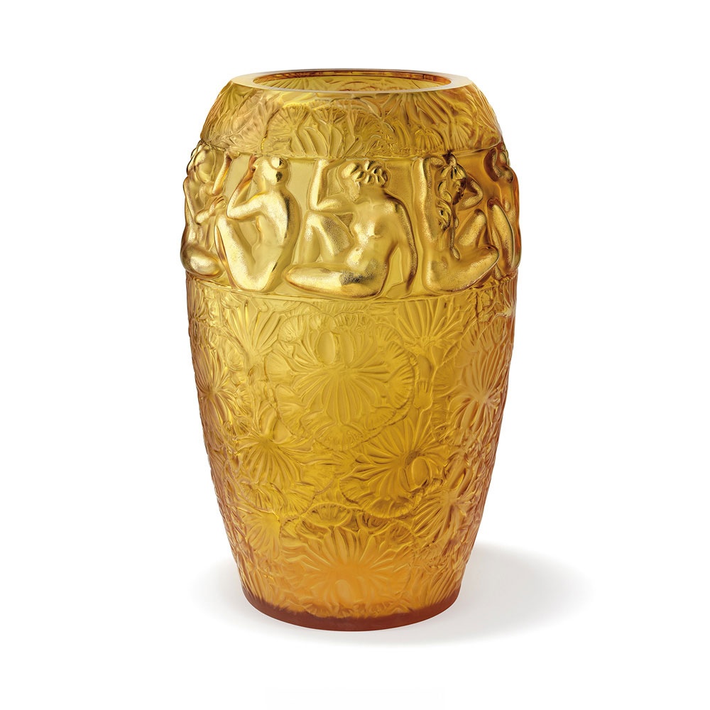 Lalique Crystal, Angelique Crystal Vase, Amber, Limited Edition