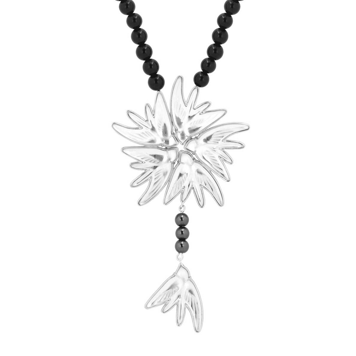 Lalique Crystal Hirondelles Necklace, Clear