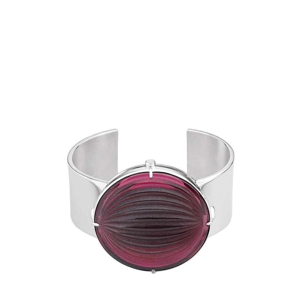 Lalique Crystal Vibrante Cuff, Red