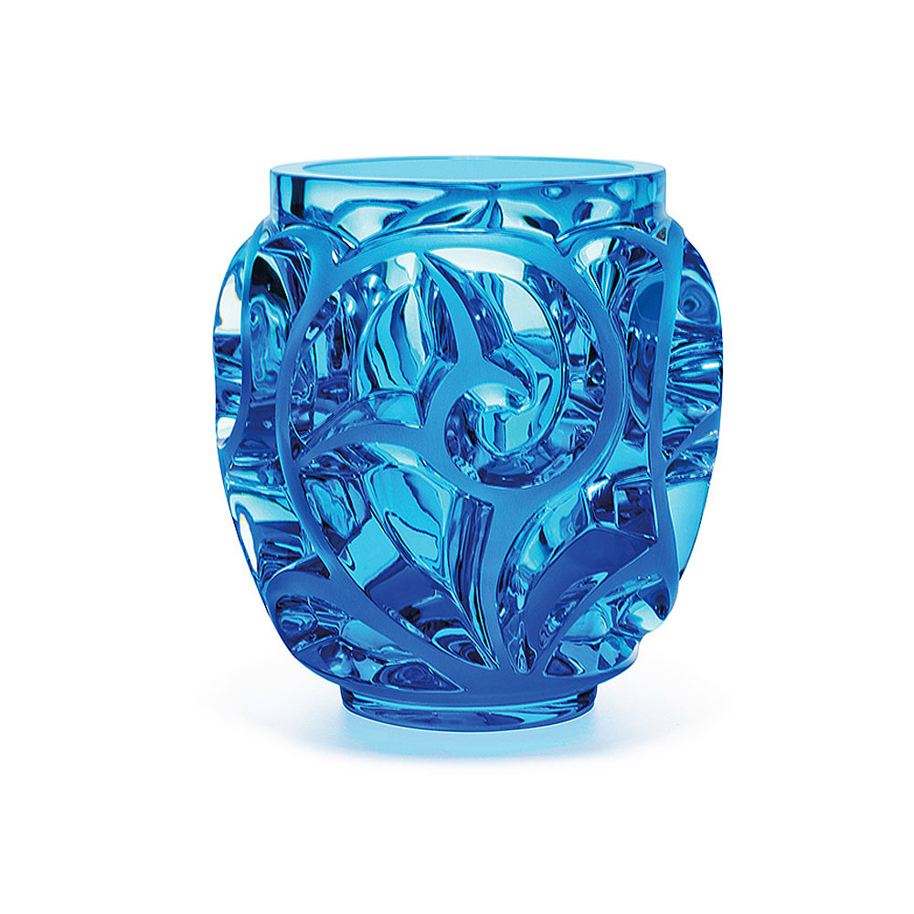 """Lalique Crystal, Tourbillons 8 1/8"""" Pale Blue Crystal Vase, Limited Edition"""