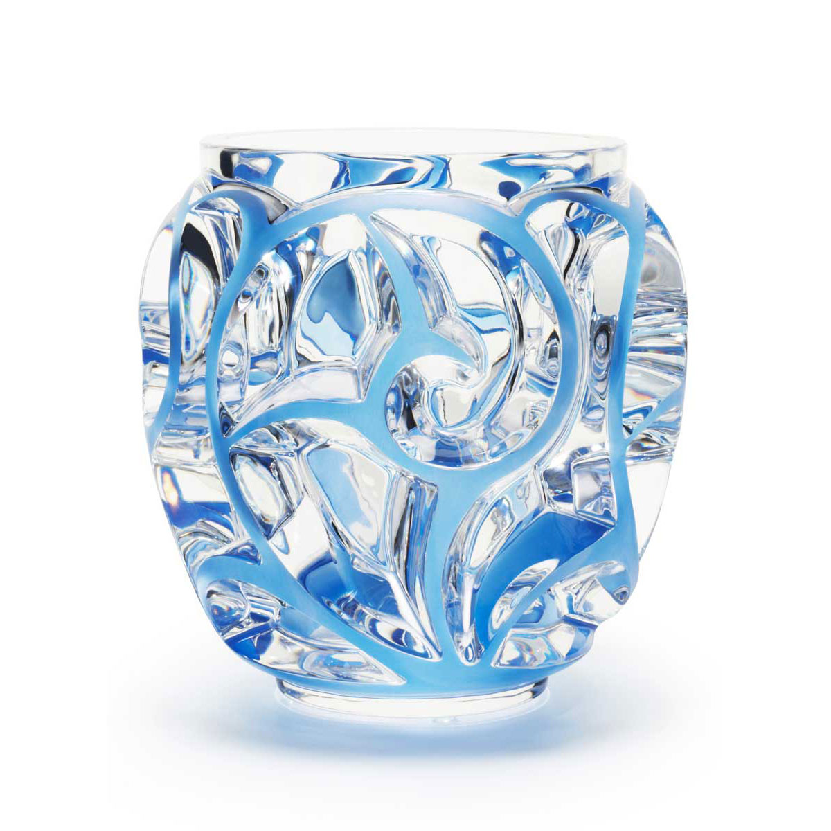"Lalique Tourbillons XXL Blue 10.5"" Vase, Limited Edition"
