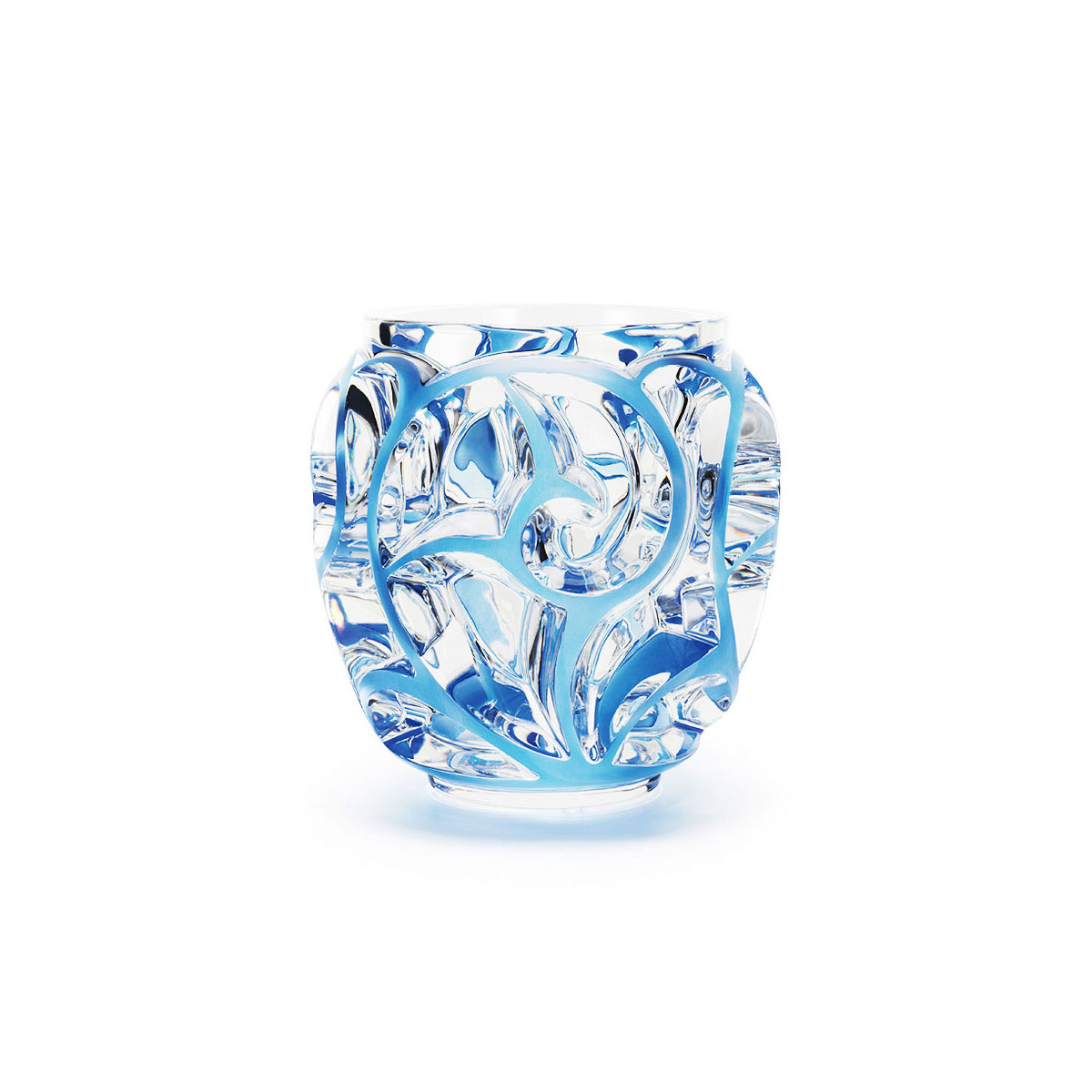 "Lalique Crystal, Tourbillons 8 1/8"" Blue Crystal Vase, Limited Edition"