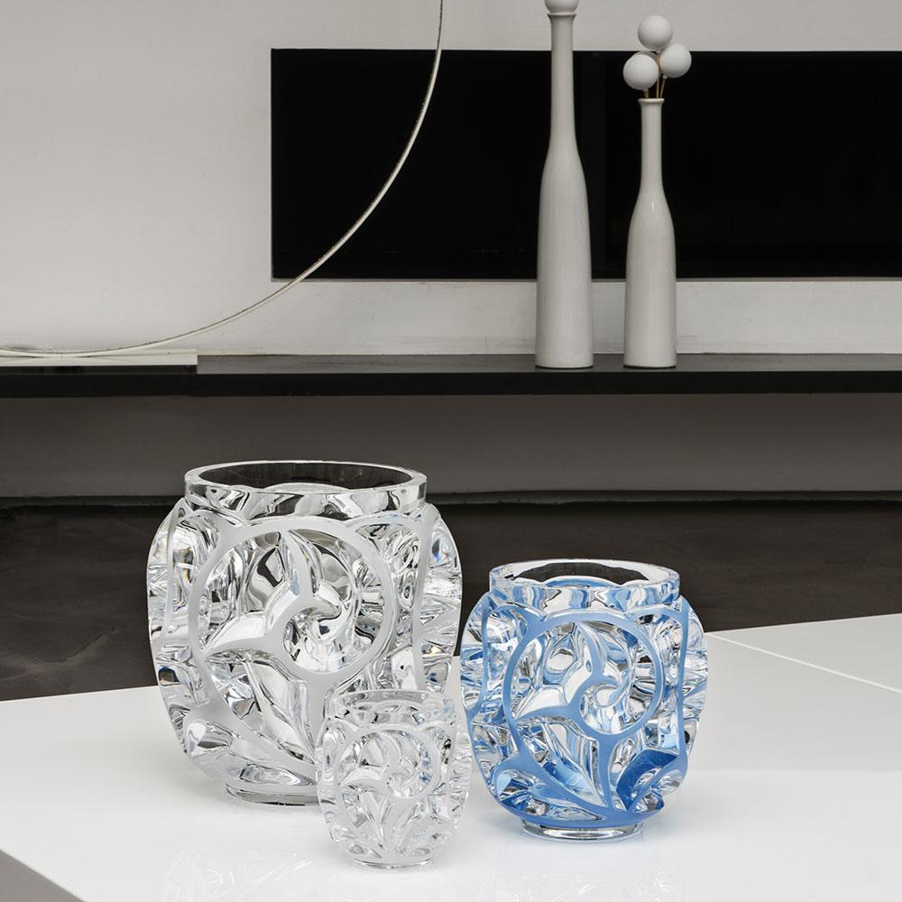 blue decorative vases.htm lalique crystal  tourbillons 8 1 8  blue crystal vase  limited  lalique crystal  tourbillons 8 1 8