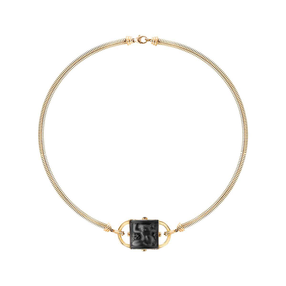 Lalique Crystal Nysa Necklace, Noir