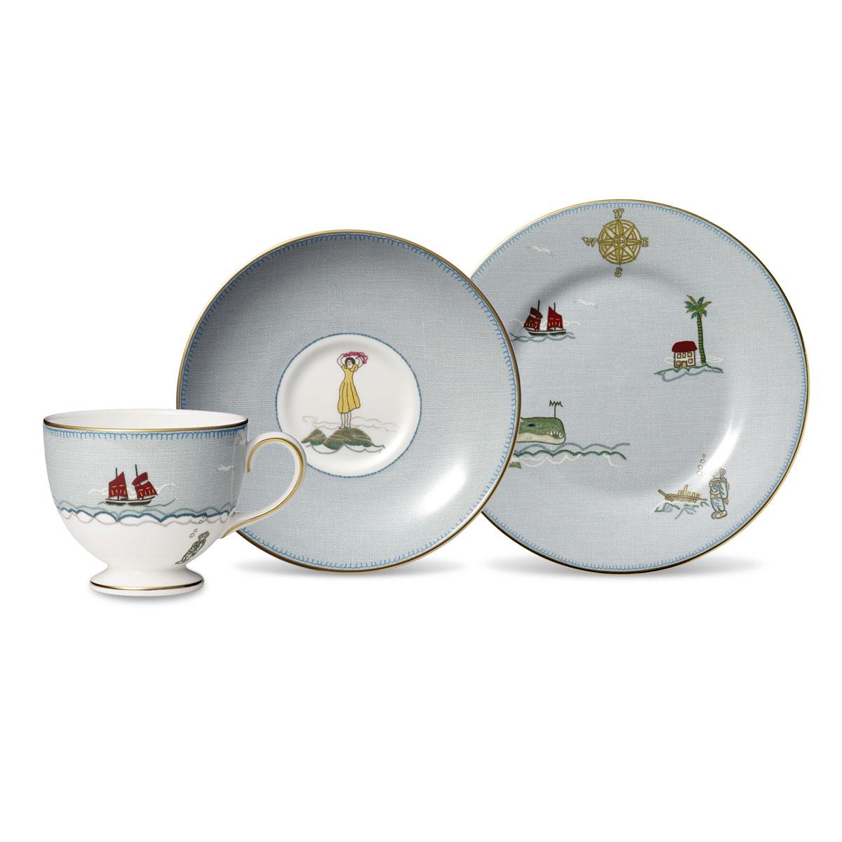 Wedgwood Sailors Farewell 3-Piece Tea Set, Teacup, Saucer and Salad Plate