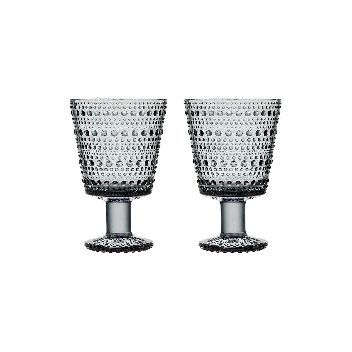 Iittala Kastehelmi Universal Glass Grey Pair