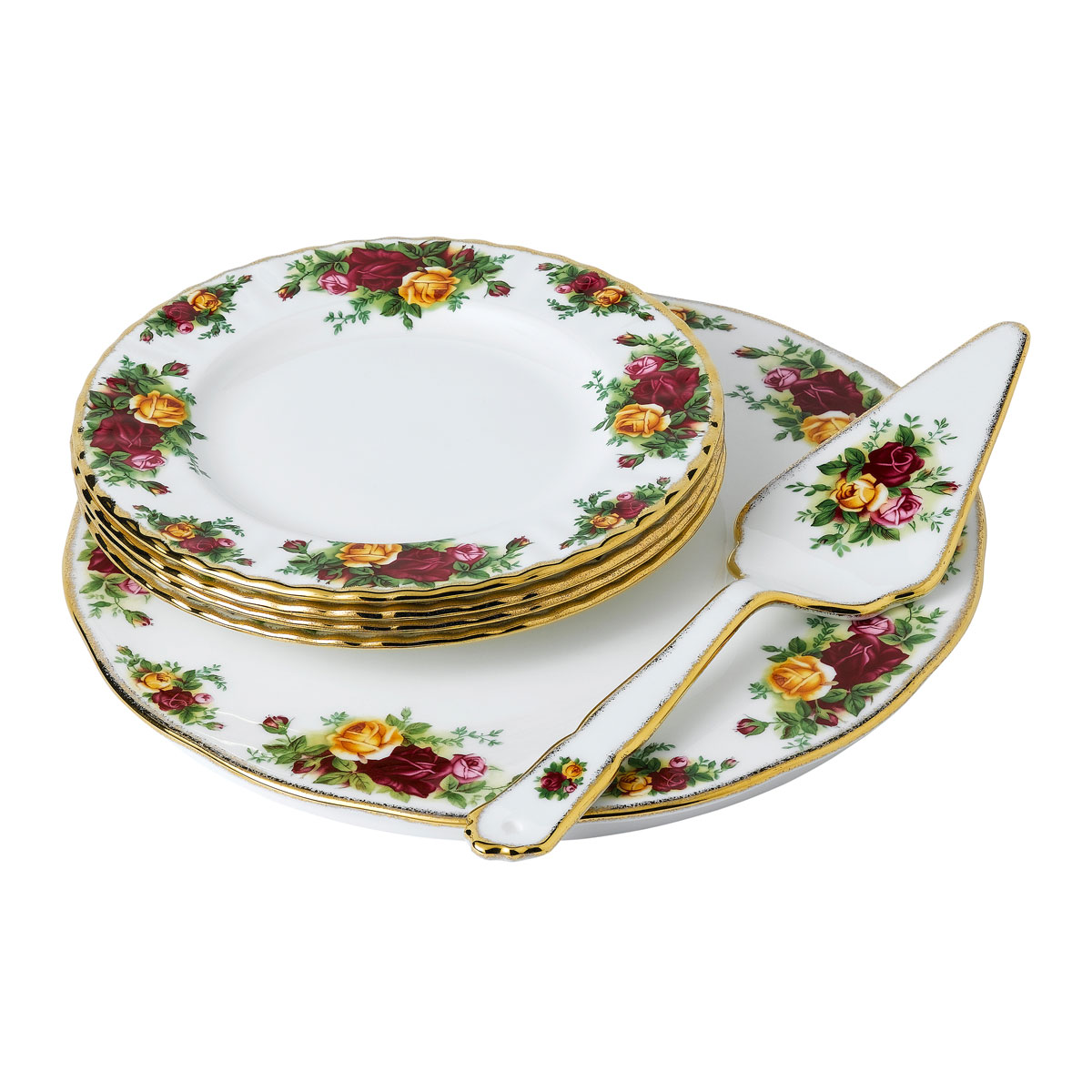 Royal Albert Old Country Roses 6 Piece Cake Server Set