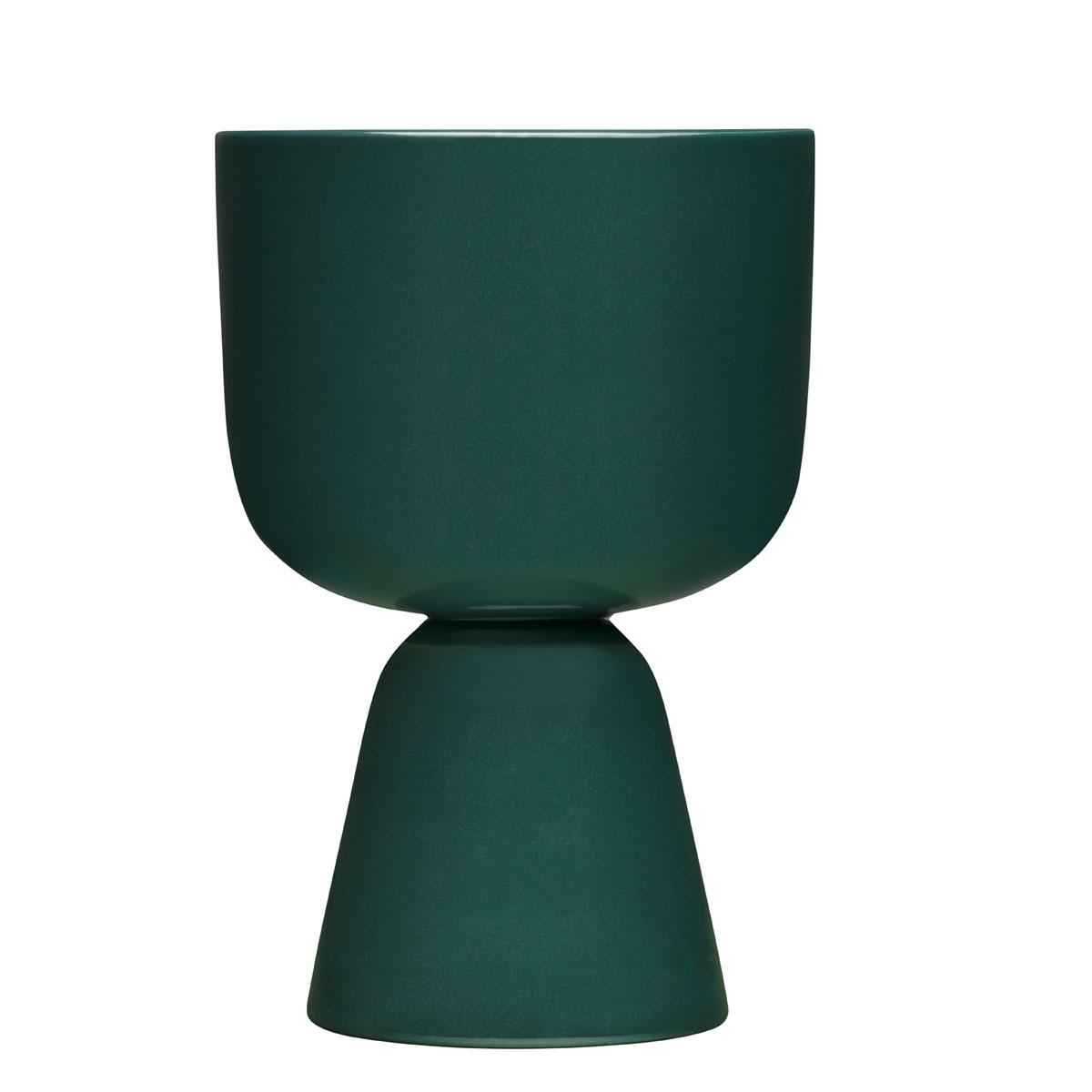 "Iittala Nappula Plant Pot 9x6"" Dark Green"