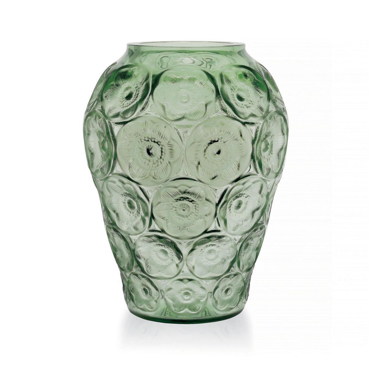 Lalique Crystal, Anemones Crystal Vase, Green