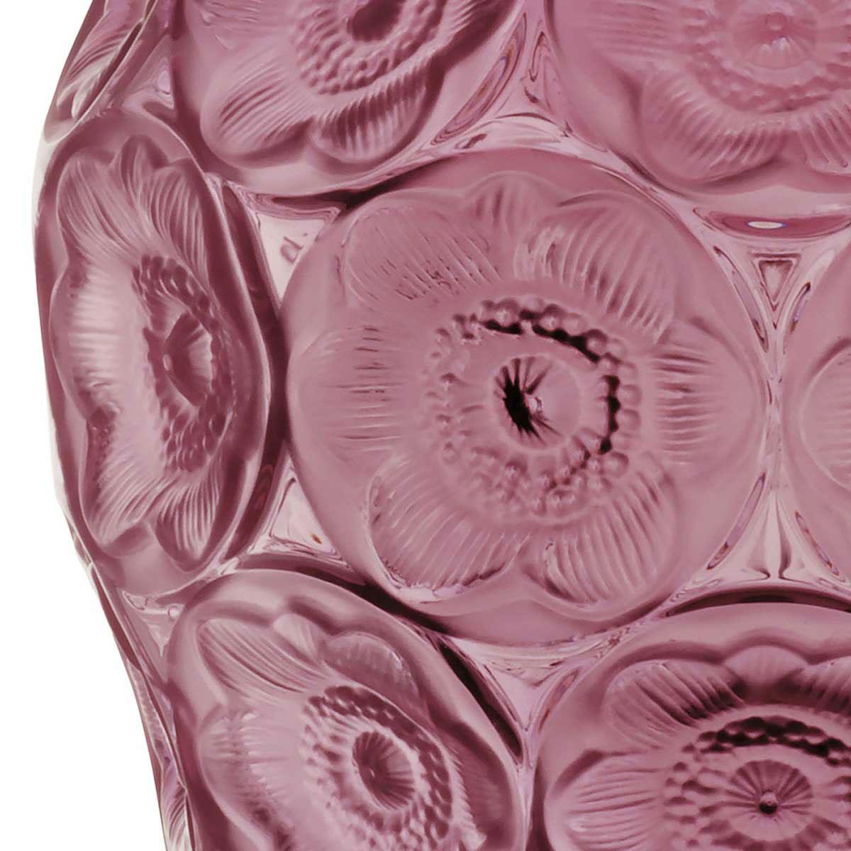 """Lalique Anemones 13"""" Vase, Fuchsia"""