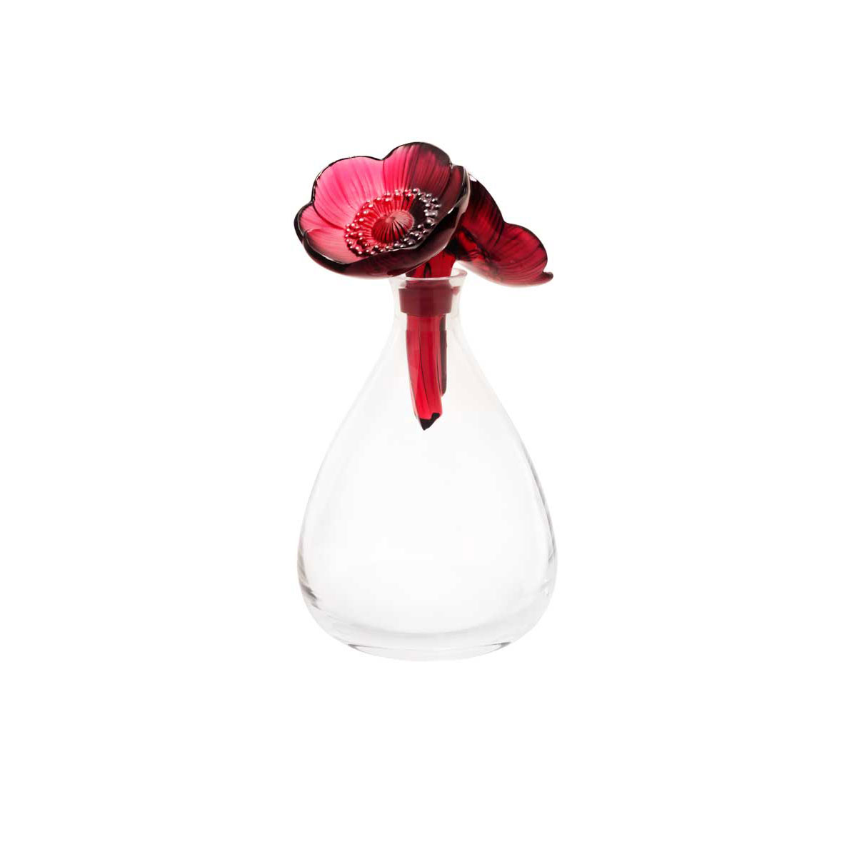 Lalique Crystal, Two Anemones Crystal Decanter, Red and White Enamelled