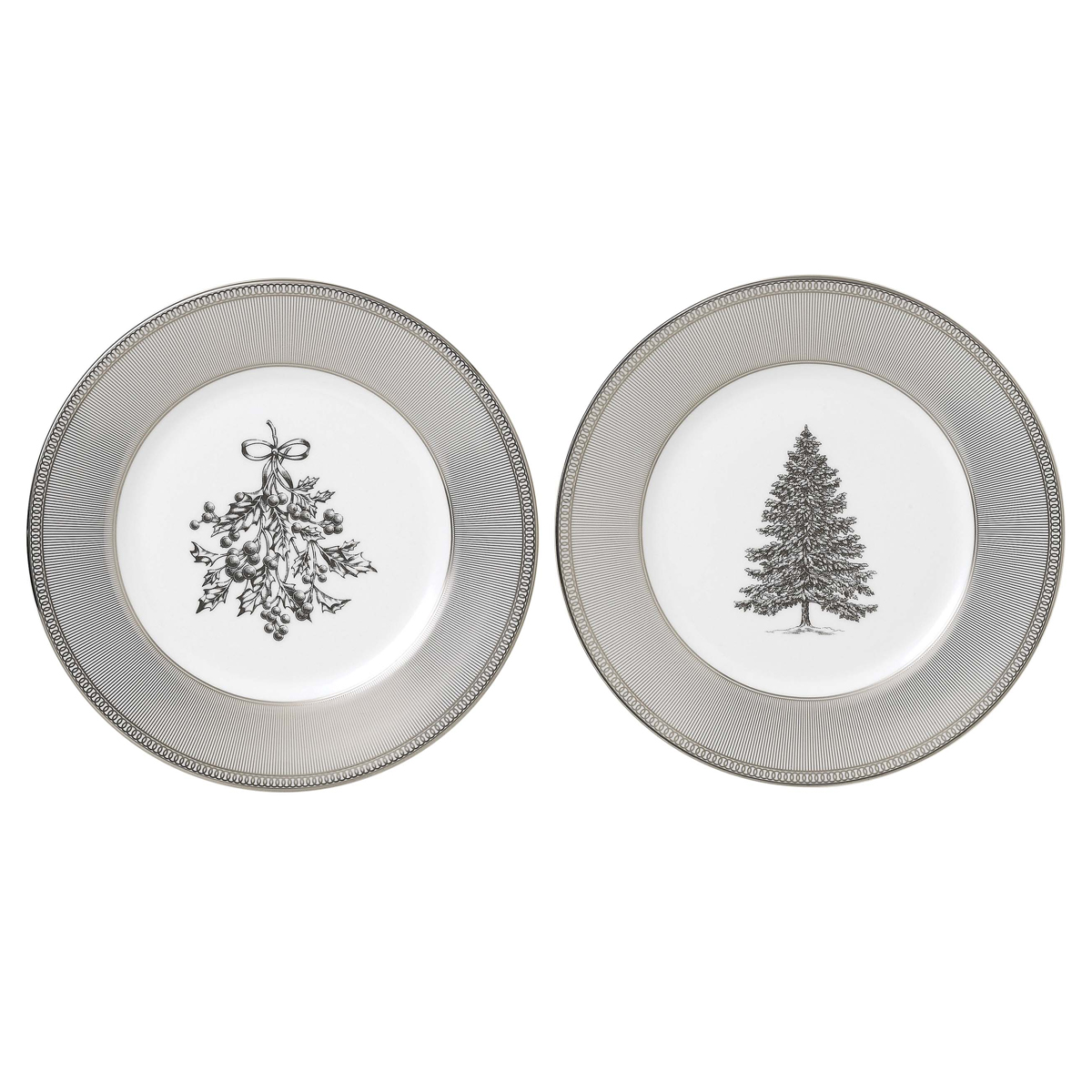 "Wedgwood 2021 Winter White Salad Plate 8"" Pair"