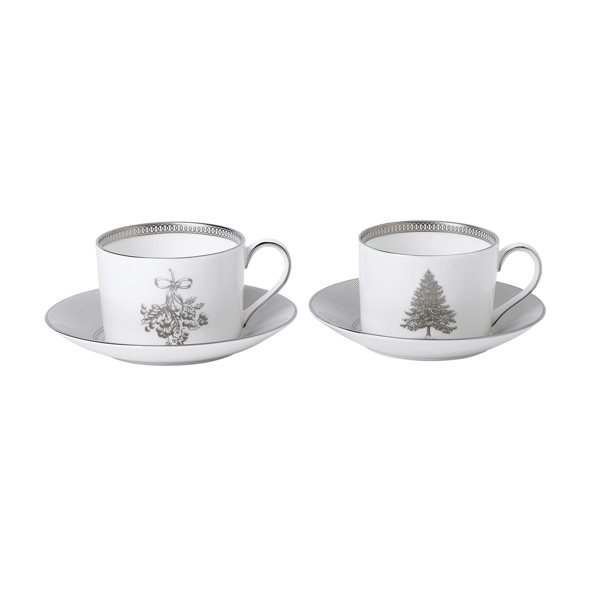 Wedgwood 2021 Winter White Teacup and Saucer Pair