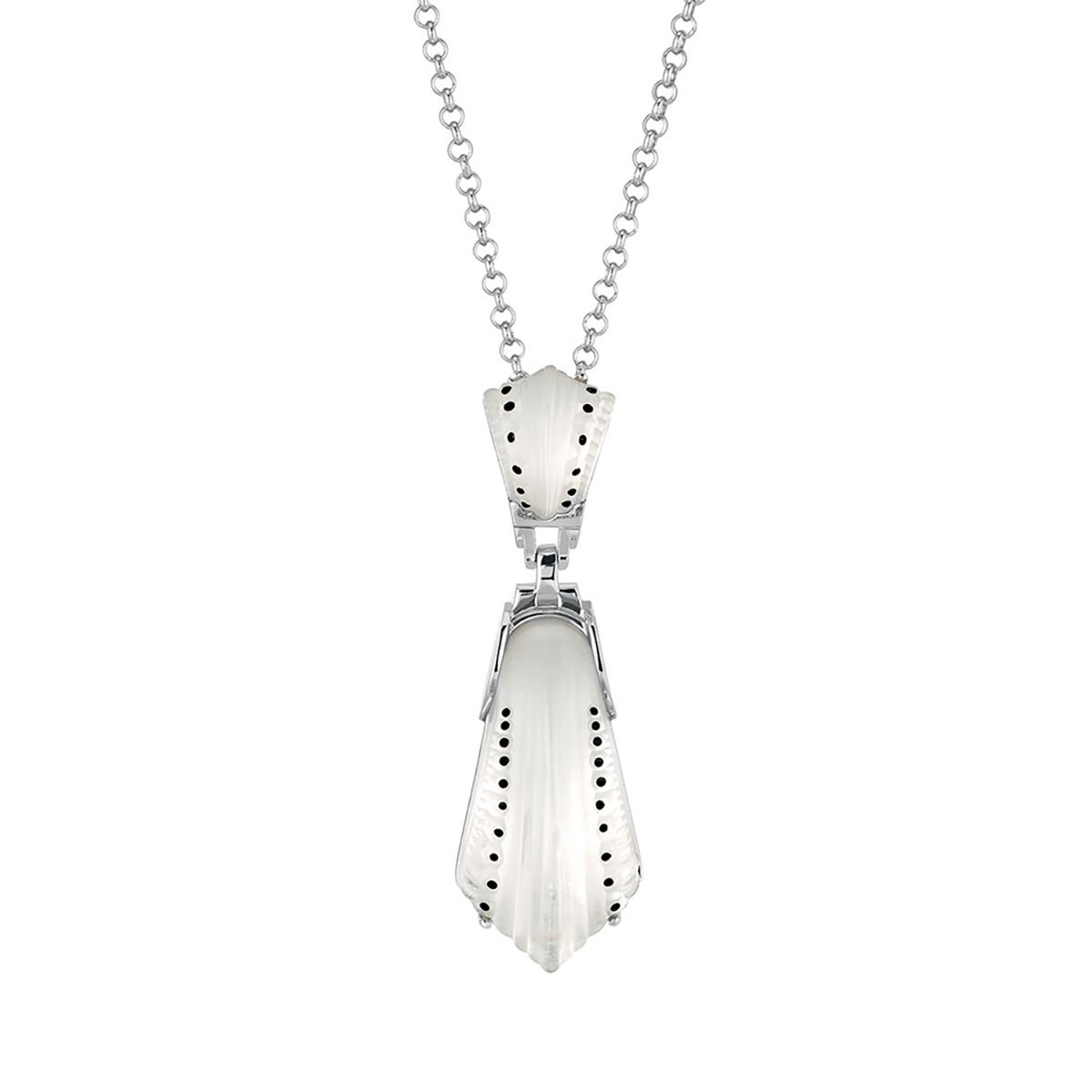Lalique Crystal and Sterling Silver Icone Pendant Necklace, Clear