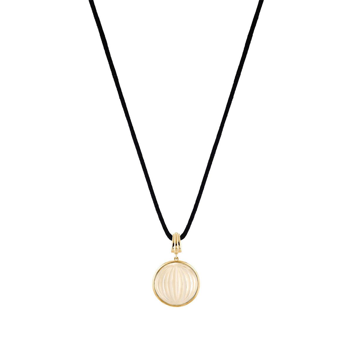 Lalique Crystal Vibrante Round Pendant Necklace, Gold Vermeil