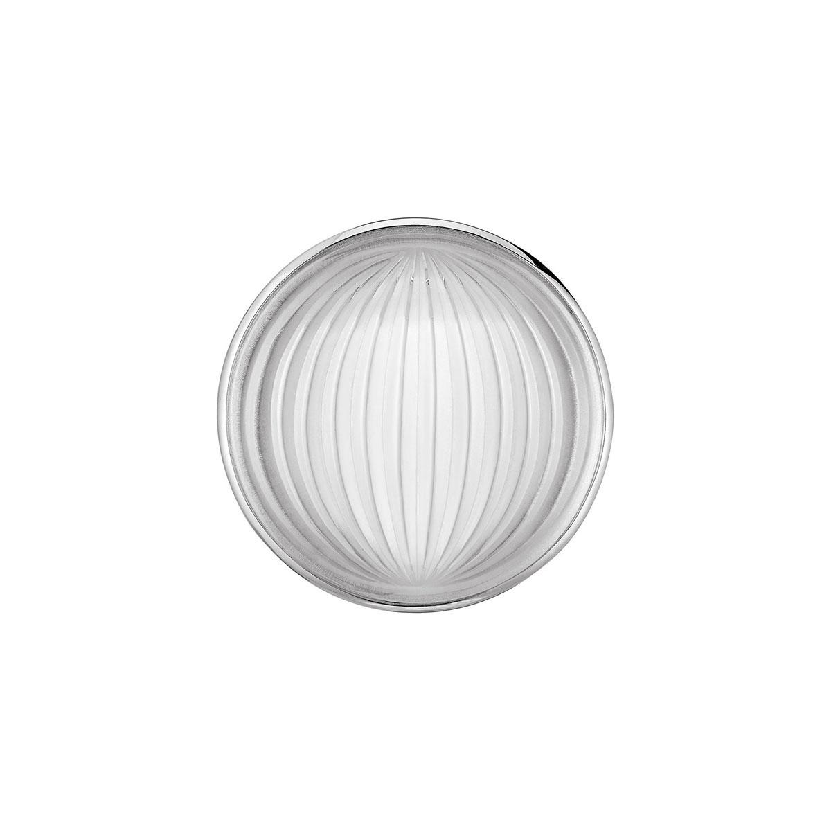 Lalique Crystal Vibrante Round Brooch, Silver