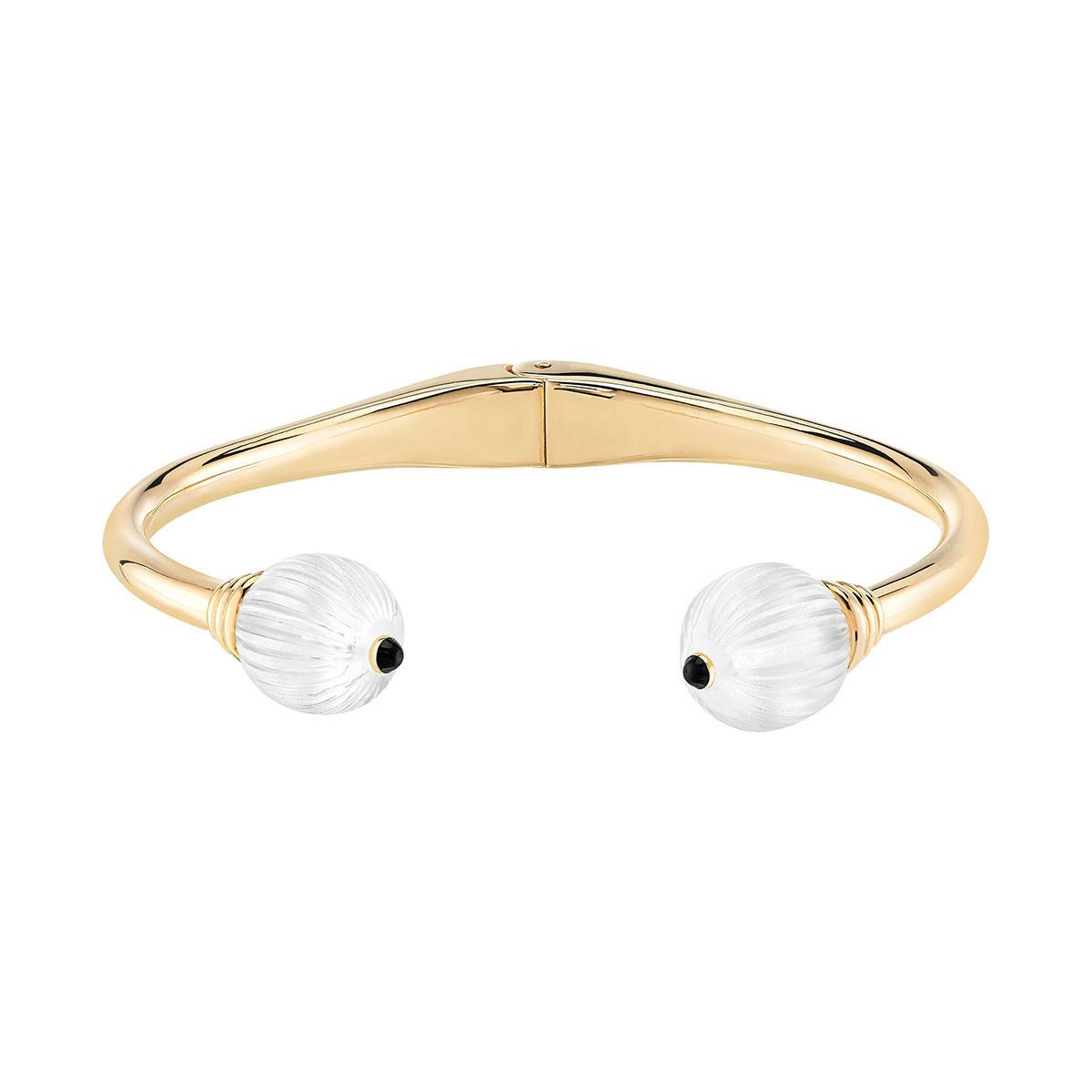 Lalique and Sterling Silver Vibrante Bangle Bracelet, Gold Vermeil