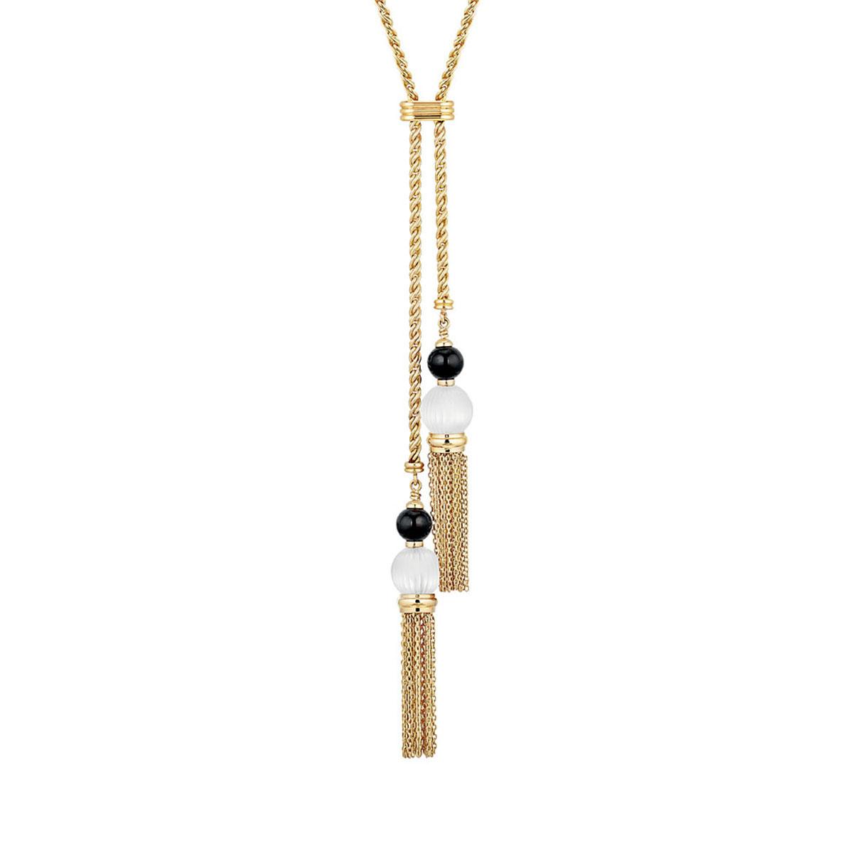 Lalique Vibrante Tassel Necklace, Gold Vermeil