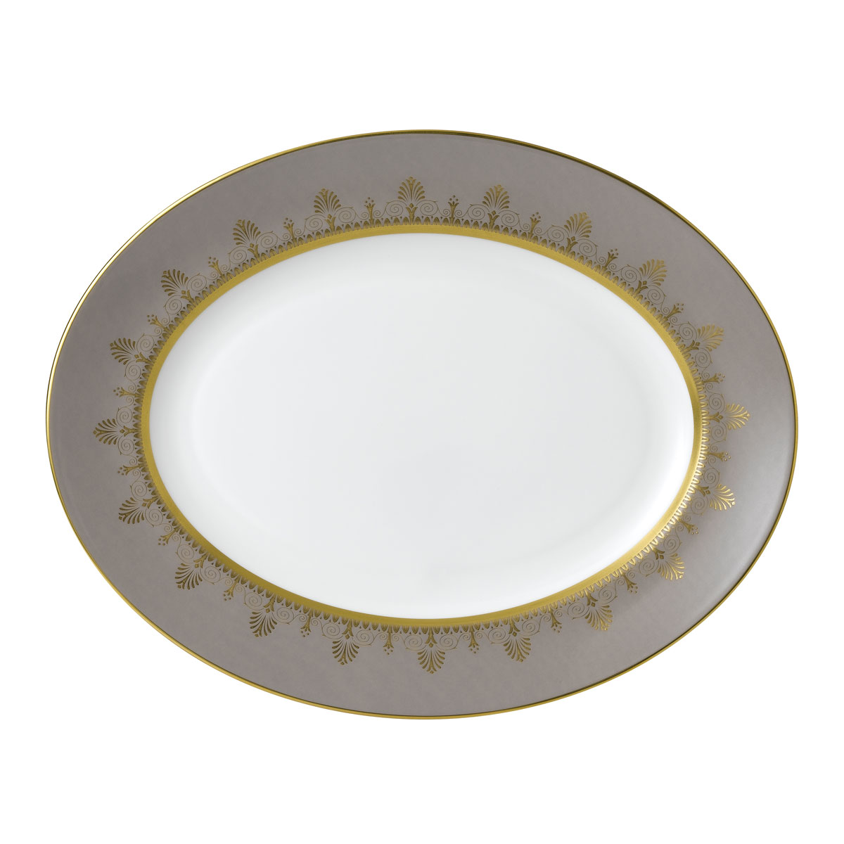 "Wedgwood Anthemion Grey Oval Platter 13.75"""