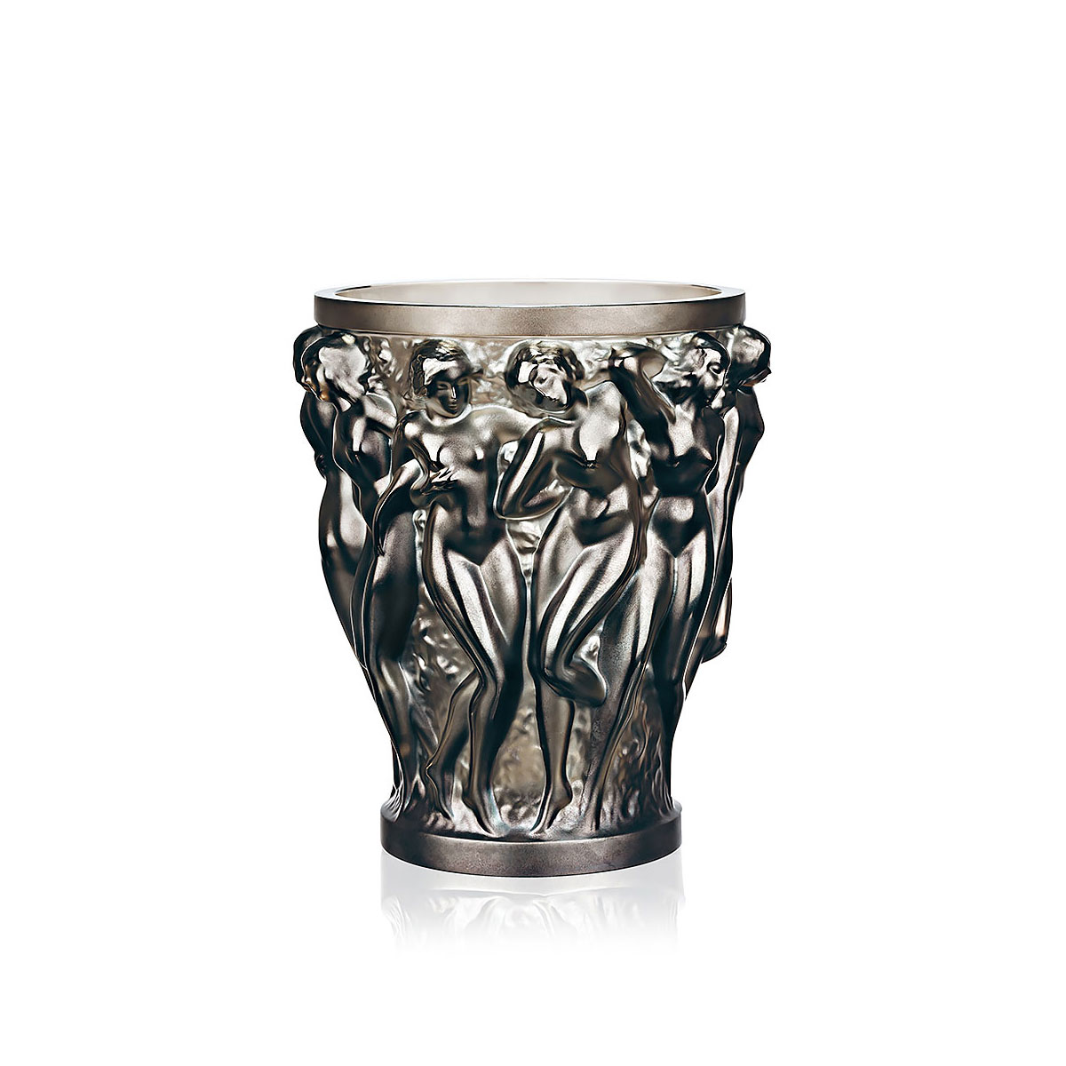 Lalique Crystal, Bacchantes Large Crystal Vase, Bronze