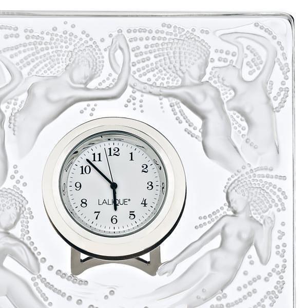 Lalique Crystal, Naiades Crystal Clock, Clear