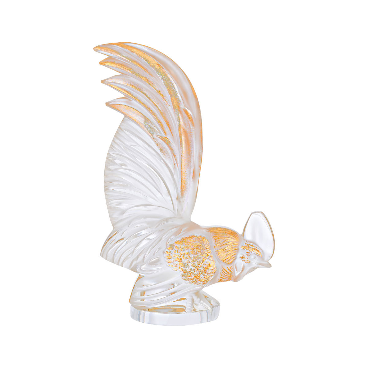 Lalique Crystal, Bantam Zodiac Rooster Sculpture, Clear And Gold Stamped