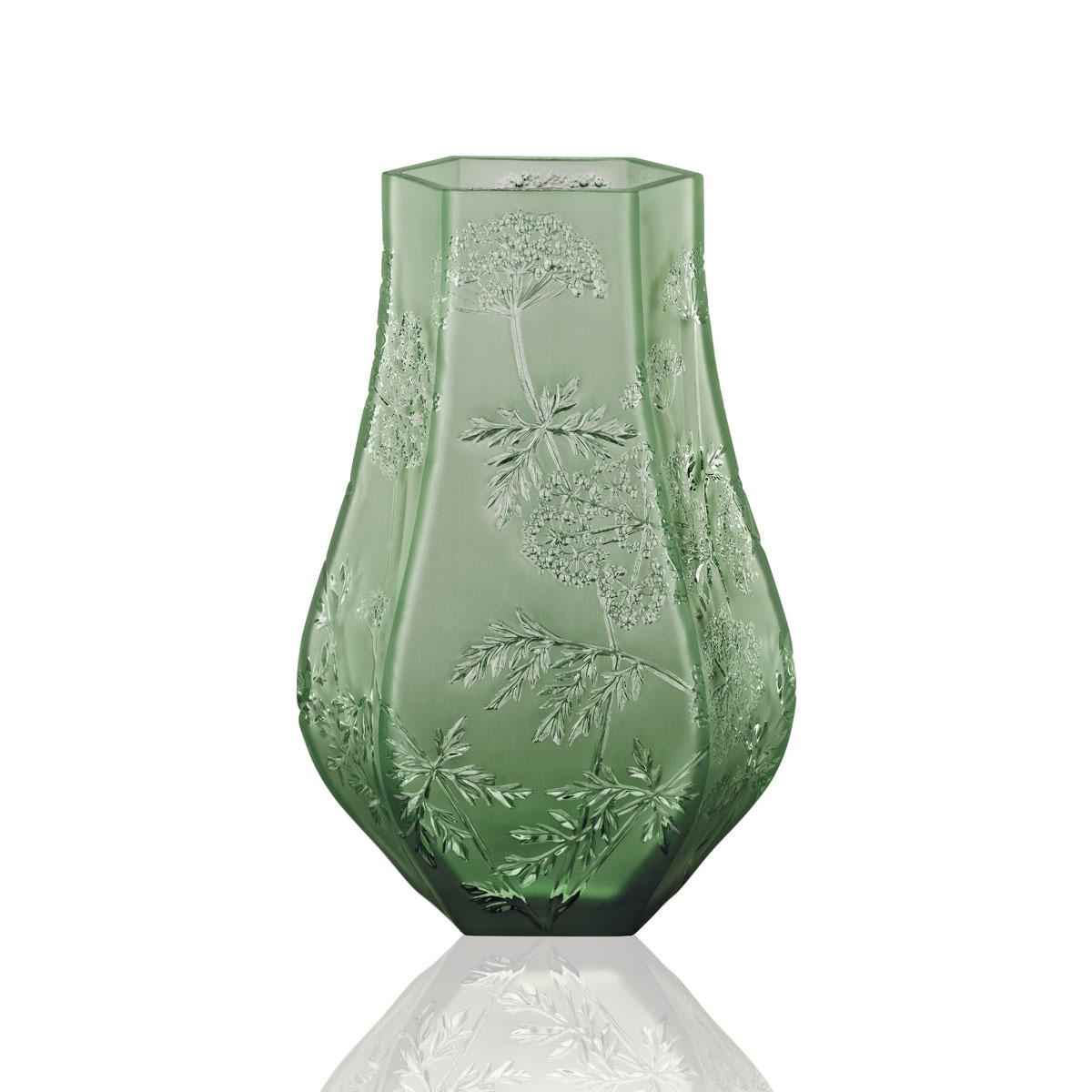 """Lalique Ombelles 11.5"""" Vase, Green"""