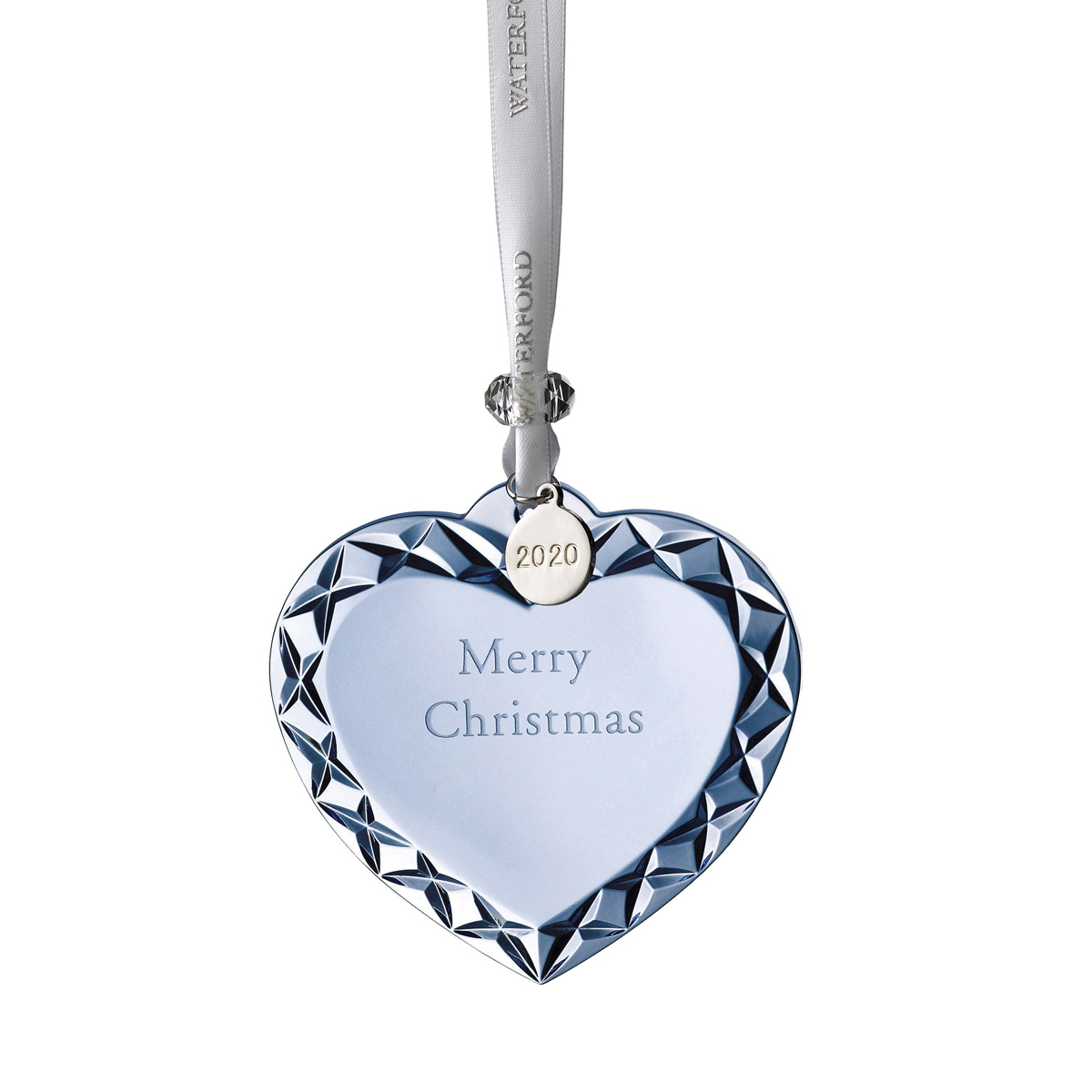 Waterford 2020 Heart Ornament Merry Christmas Topaz Ice