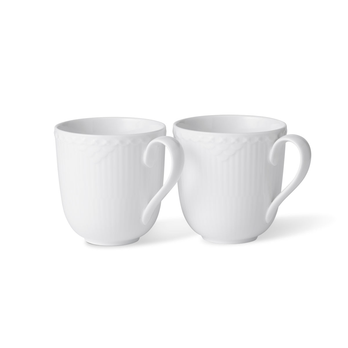 Royal Copenhagen White Fluted Half Lace Mug Pair
