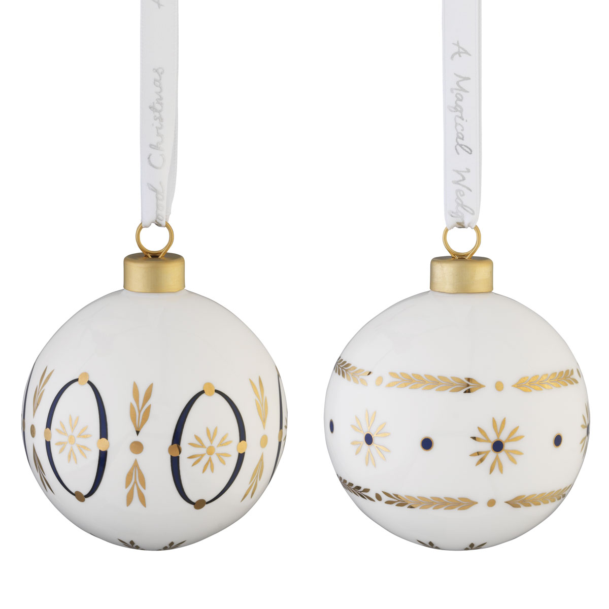 Wedgwood 2021 Renaissance Gold Bauble Ornament Pair
