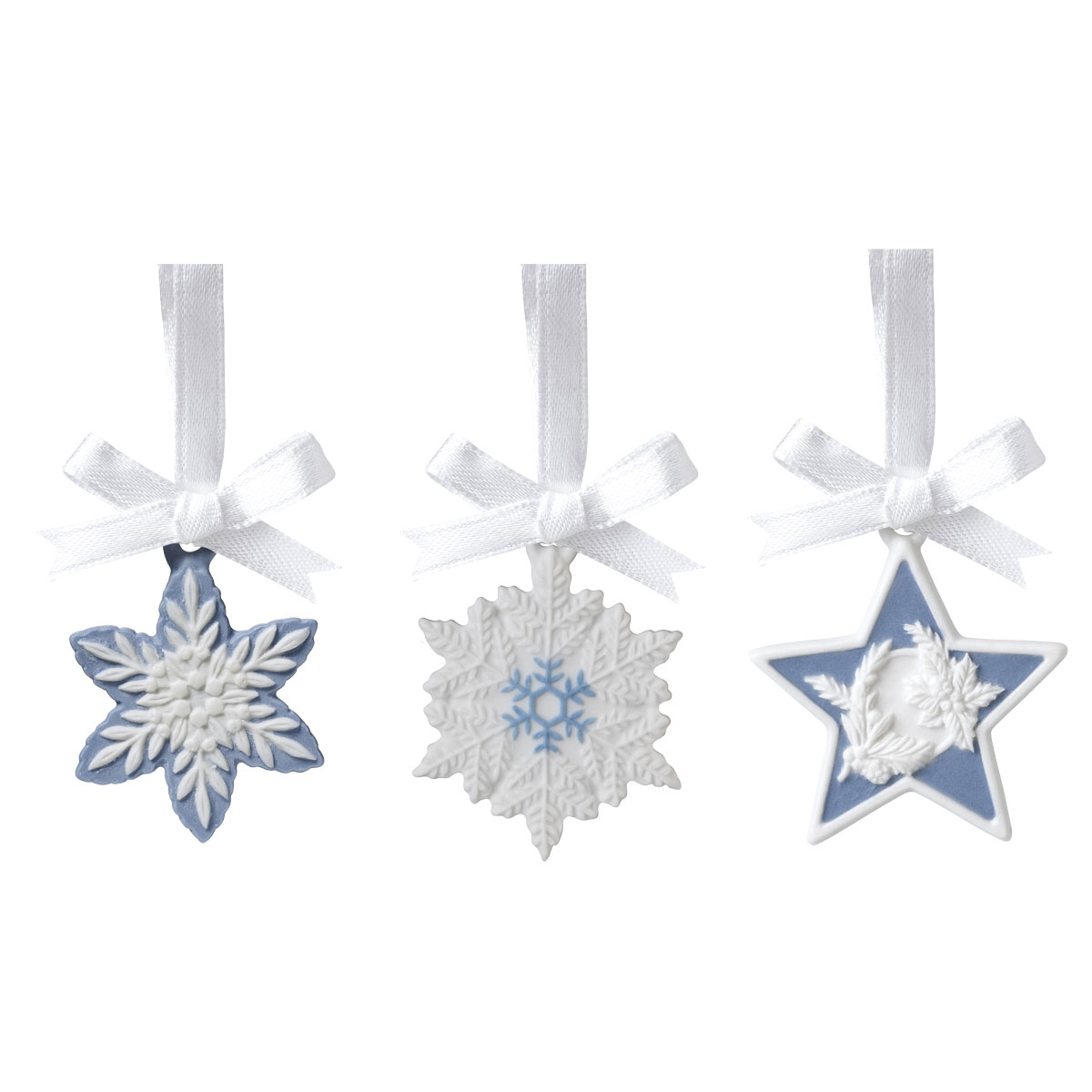 Wedgwood 2021 Snowflakes and Star Charm Ornaments, Set of 3