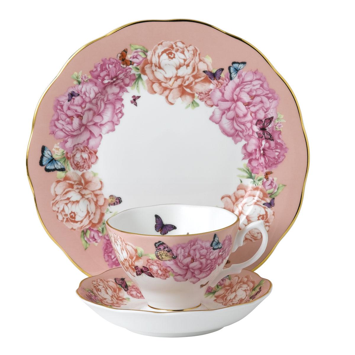 "Royal Albert Miranda Kerr Friendship 3pc Set Teacup, Saucer and Plate 8"" Hope, Coral"